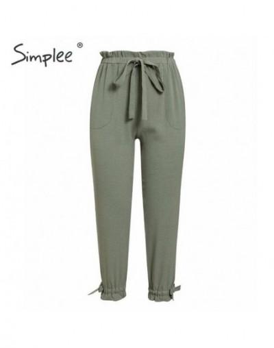 Elastic high waist women harem pants Elegant lace up pockets female trousers Casual solid ladies pencil pants 2019 - Green -...