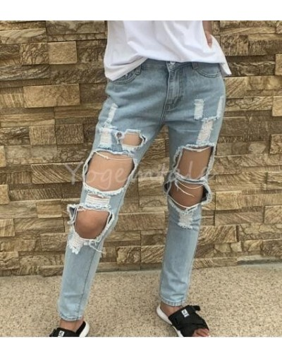 Fashion Summer Punk Denim Ripped Jeans for Women Vintage Jeans Pants Torn Trousers Jeans with Holes Light Blue Ripped Pants ...