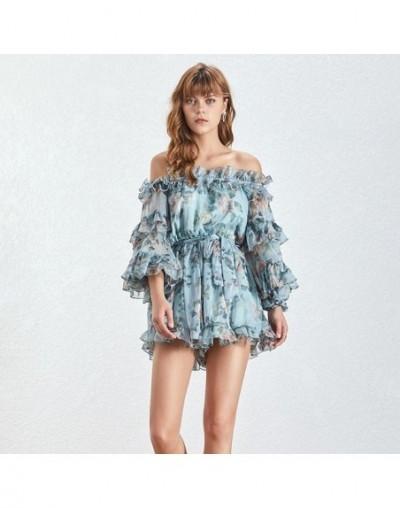 Sexy Off Shoulder Print Beach Women Jumpsuit Long Sleeve Ruffles Bandage High Waist Loose Playsuit Female Summer - blue - 33...