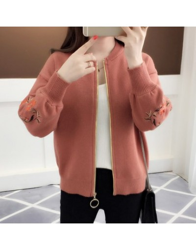 2019 The new spring large size women embroidered sweater long sleeve zipper cardigan coat F1761 - Z8 - 493922702738-7