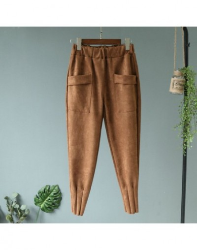 2019 spring new carrot pants elastic waist good quality suede big pocket carrot pants feet pace casual pants Embossed trouse...
