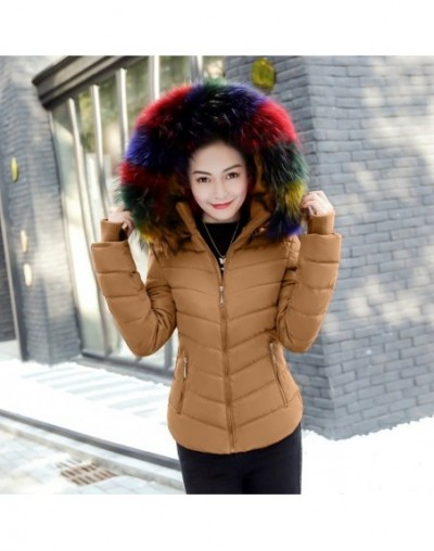 2019 Autumn Winter Jacket Women Parkas for Coat Fashion Female Down Jacket With a Hood Large Faux Fur Collar Coat - brown - ...