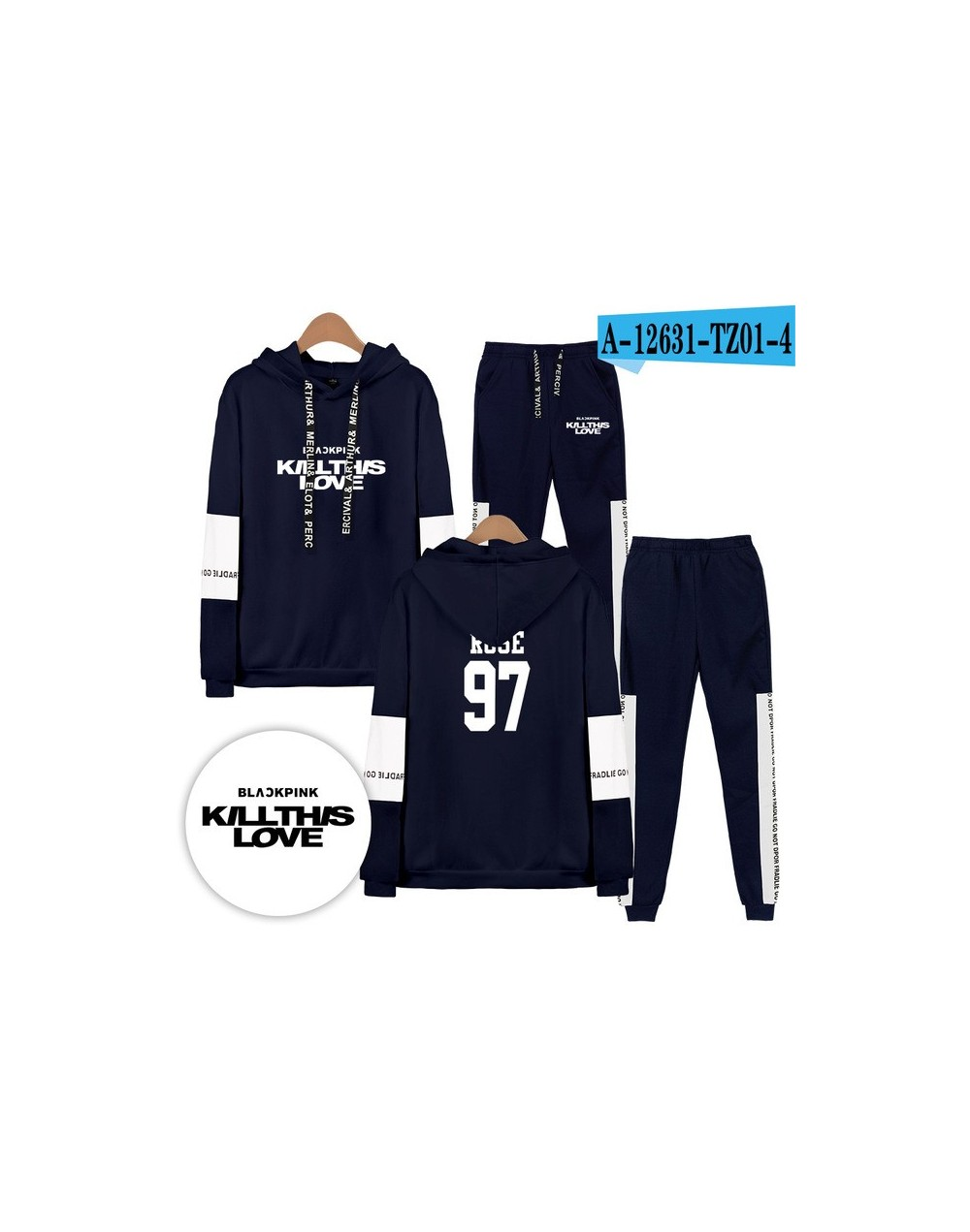 Blackpink killthislove Tracksuit 2pcs Women Set Hoodies Crop Top Sweatshirt Side Stripe Pants Hooded Sets Women men Suits - ...