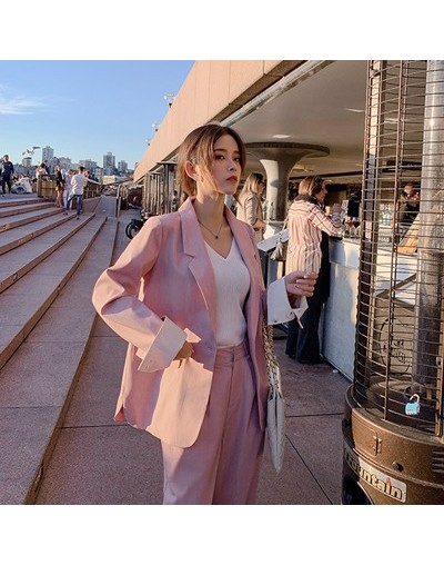 2019 Women Autumn Solid Two Pieces Outfits Suit Set Turn-Down Collar Blazer Shorts or Long Pant Sold Separately MX19C6153 - ...