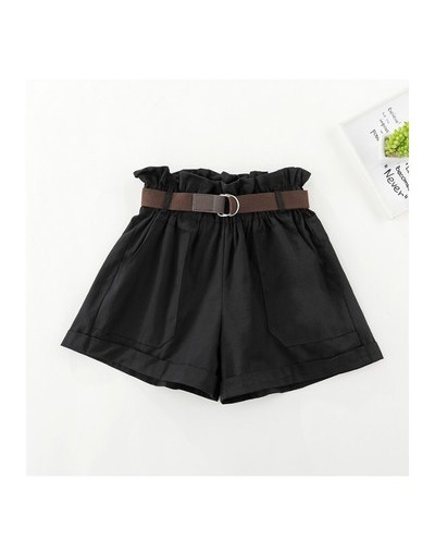 Summer 2019 New Women Korean Version Wild Elastic High Waist Cotton Flower Waist Loose Wide-leg Shorts Free Belt PT291 - bla...