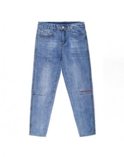 Women 2018 Spring Autumn Jeans Ankle-Length Pants Loose Embroidery Korean Female Pencil Pants JST043 - light blue - 4D306764...