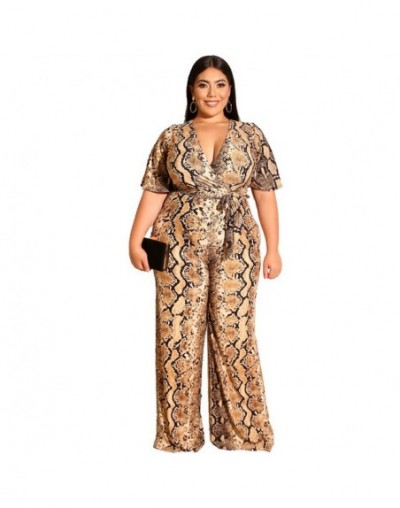 Women Casual Jumpsuit Sexy 2019 Vintage Leopard Print 3XL-4XL Plus Size Wide Leg Rompers Fashion Elegant Summer Long Jumpsui...