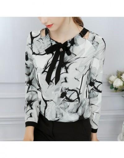 2018 summer new custom color women's shirt bow tie long sleeve ink flower long sleeve chiffon shirt shirt BD1 - BD16 - 48309...