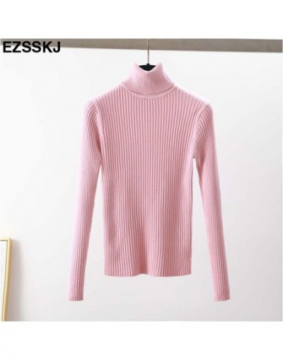 High Quality Women Sweater New Turtleneck Pullover Winter Tops Solid Cashmere Sweater Autumn Female Sweater Hot Sale - Pink ...
