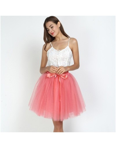 7Layered 50cm Tulle Skirts Womens 2Adult Tulle Skirt Elastic High Waist Pleated Midi Skirt 2019 Fashion Wedding Jupe - water...