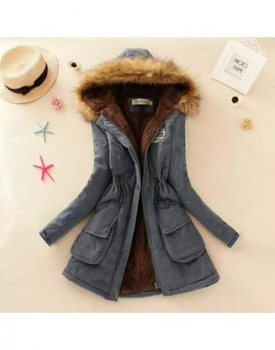 Women Parka Fashion Autumn Winter Warm Jackets Women Fur Collar Coats Long Parkas Hoodies Office Lady Cotton Plus Size - Dar...