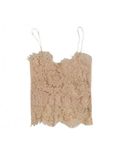 2019 New Sexy Lace Tops Patchwork Underwear Women Sleeveless Open Back Sling Camisole V-neck Vest Slim Tank Tops - Khaki - 4...