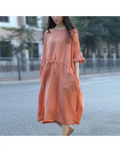 New Style Casual short-sleeved Dress Literary Retro Women Dress 2019 Summer o-neck Loose Fashion Solid Women Dress - Orange ...