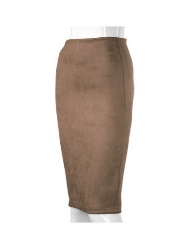 Empire Skirts Spring Faux Suede Pencil High Waist Bodycon Split Thick Stretchy Sexy Skirts Knee Length Plus Size - Brown - 4...