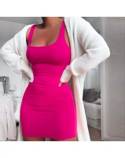 White Summer Dress 2019 Women Solid Color Sleevelsee Cotton Casual Pencil Dress Hot Pink Bodycon Beach Dress 2 Layers - Hot ...
