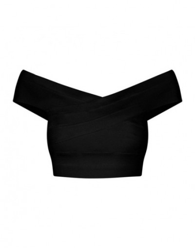 2018 New Sexy Lady V-neck Off The Shoulder Bandage Crop Top Short Solid Summer Women Party Fashion Tops Wholesale - Black - ...