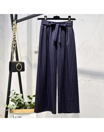 Casual Summer 2019 Wide Leg Pants Women Striped Printed Pant Ladies Elastic High Waist Pants Korean pantalones mujer21068 - ...