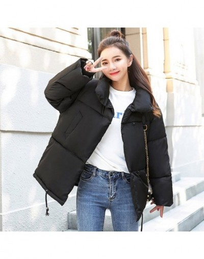 Breasted Buttons 2019 New Arrival Oversize Winter Jacket Women Outwear Cotton Padded Female Womens Coat Short Jackets - Blac...