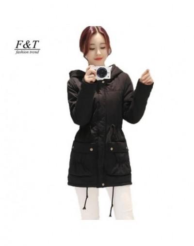Autumn Winter Cotton Padded Jacket Women Slim Waist Medium-long Coat Thickness Casual Parkas Hooded Overcoat - Black - 3O159...
