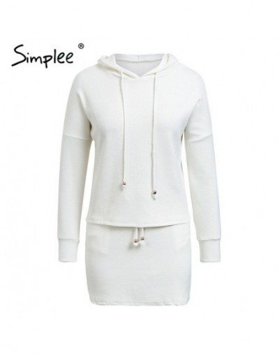 Two piece lace up casual suit dress women plus size Cotton white autumn Knitted dress Oversized hoodie sweatshirt female - W...