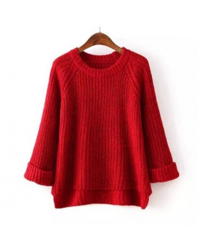 Women Sweater And Pullovers Autumn Winter O Neck Knitted Womens Pullover Fashion Sweater Fall 2017 - Red - 4J3936157991-4