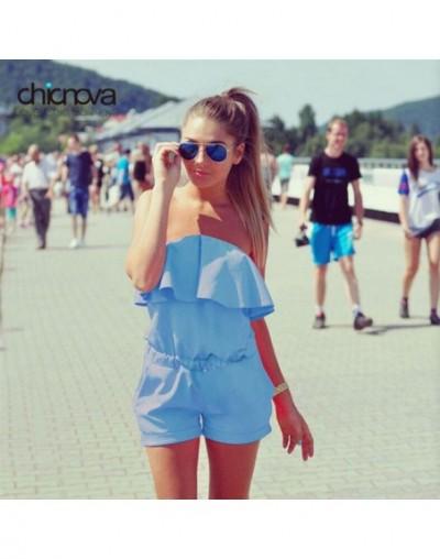 Summer strapless Off Shoulder Playsuits Ruffles beach Shorts set Womens Rompers Jumpsuit FS0222 - Sky Blue - 32711333140