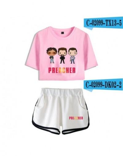 Preacher 2pc set streetwear navel T-shirt + shorts sets 2019 comfy women's shorts set 100% cotton - C02100 - 6 - 5T111220271...