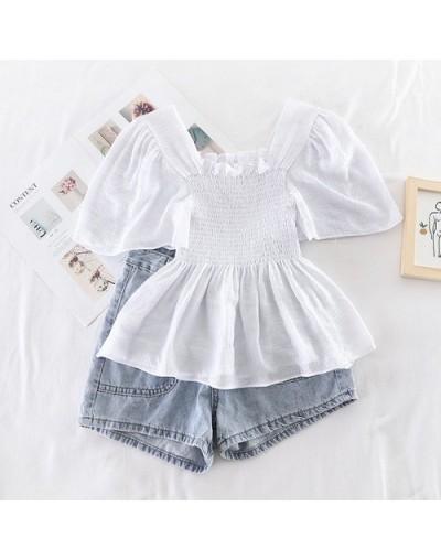 2019 new fashion women's blouse shirt Fresh candy color summer square collar lotus leaf sleeve slim body shirt female J584 -...