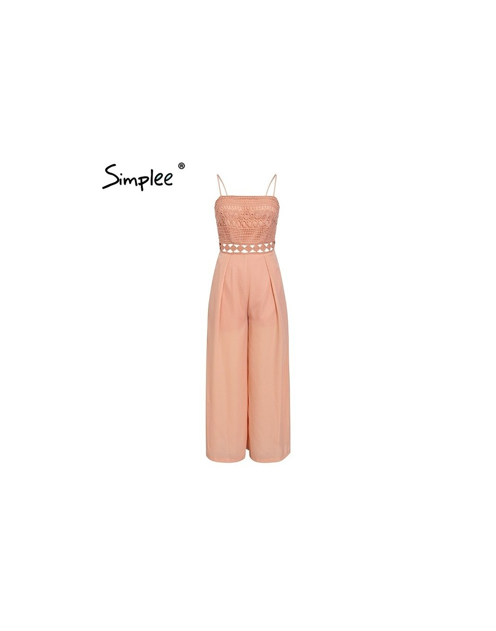 Sexy strap lace hollow out women jumpsuit romper Elegant embroidery wide-leg jumpsuit long overall Solid summer playsuit - P...