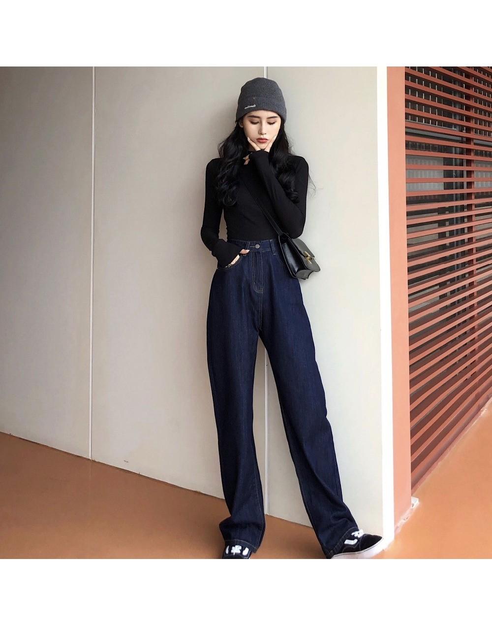 Women Wide Leg Loose Denim Blue Jeans Pant 2019 Female Long Trousers High Waist Chic Female Casual Pants Jeans - Blue - 4D30...