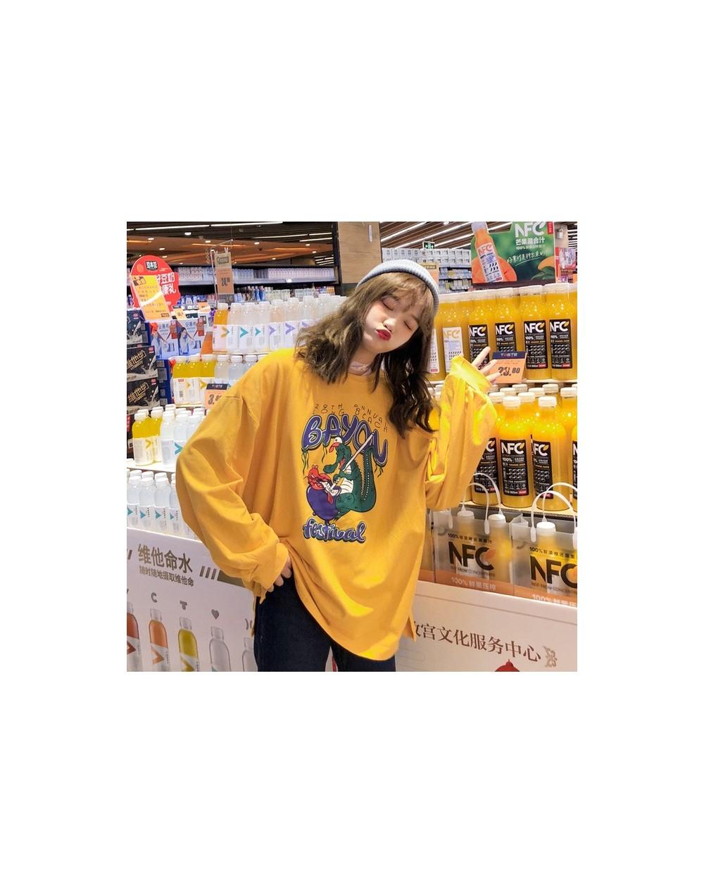 T-shirts Women Oversize Cartoon Printed Kawaii O-Neck Leisure All-match T-shirt Womens Long Sleeve Letter Korean Tees Lovely...