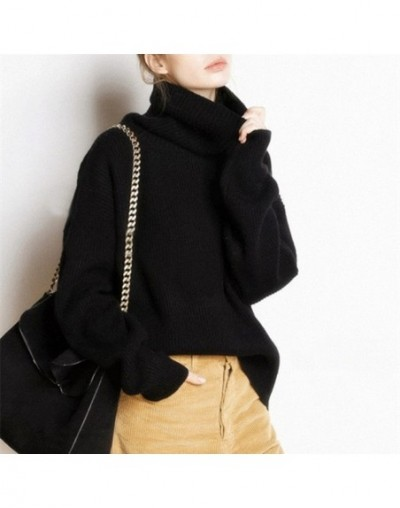 Women New Pure Cashmere Sweater Autumn High Collar Quality Large size Thick Pullover Winter Warm Female Soft Wild Sweater - ...