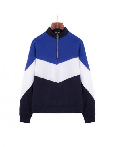 Women Autumn Long Sleeve Lapel Collar Sweatshirt Casual Zip Colorblock Tops XIN-Shipping - Blue - 4A4153028567-1