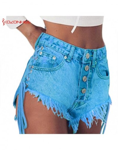 Women Emerald Denim Shorts High Waist Straps Tassel Bandages Denim Shorts Female Summer Jeans Short 68 - 423985373019