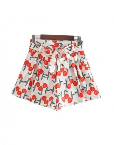 women sweet fruits print shorts bow tie sashes zipper fly cute female casual chic summer shorts panalones SA140 - as picture...