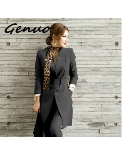 New 2019 Business Ladies women two piece outfits Formal OL style Elegant Skinny Long Blazer Pants Two Pieces Sets - Black - ...