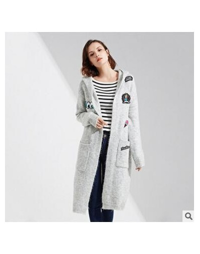 High Quality Long Cardigan Women Hooded Sweater 2018 New Autumn Winter Long Sleeve Knitted Cartoon applique Cardigans Coat T...