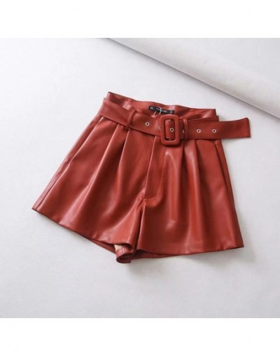 Women Black Orange Color PU Leather High Waist With Belt Wide Leg Faux Leather Solid Shorts High Quality Winter Loose PU Sho...