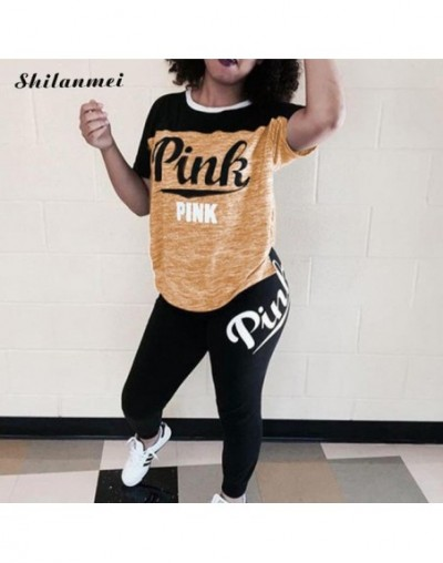 Summer Casual Plus Size 2 Piece Set Pink Letter Print Clothing Xxxl Women Tracksuit Short Sleeve Tops+ Pants Skinny Streetwe...