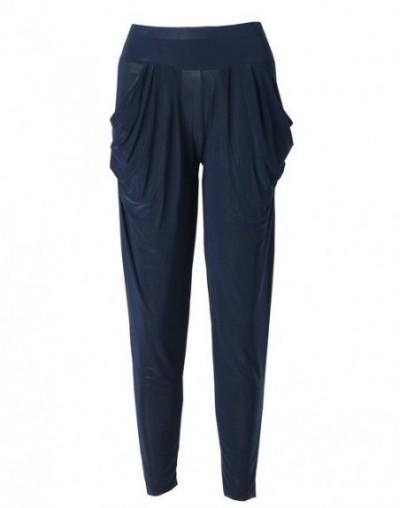 Candy Color Ladies Fashion Slim Casual Harem Baggy Dance Sweat Pants Trousers - Navy blue - 473978290591-3