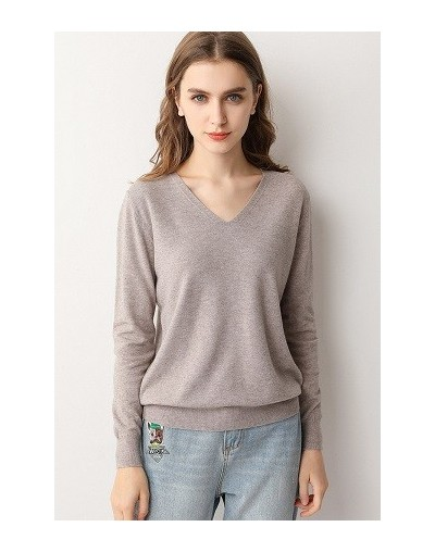 2019 New Arrival Autumn Winter Sweater Fashion Female V-neck Pullover Paragraph Bottoming Knitting High Quality - Camel EWNT...
