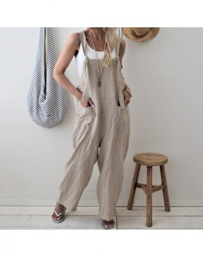 2019 Summer Women Strappy Pockets Casual Solid Dungarees Cotton Linen Long Jumpsuits Loose Bib Overalls Rompers Plus Size - ...