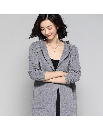 2019 Autumn And Winter New Hooded Jacket Cashmere Cardigan Sweater Women's Solid Color Coat Soft Cardigan Fashion Coat Long ...