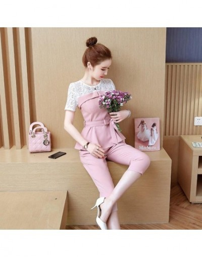 Summer Two Piece Sets Women Short Sleeve Lace Patchwork Tops With Belt And Cropped Pants Suits Elegant Office Korean Women's...