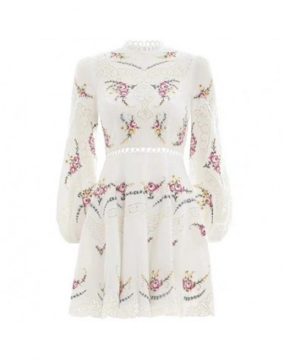 Summer Embroidery Mini Dress For Women Stand Collar Long Sleeve High Waist Hollow Out Dresses Female Fashion 2019 - white - ...