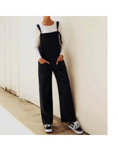 Summer New Women Casual Loose Bodysuits Linen Cotton Jumpsuit Dungarees Playsuit Long Trousers Overalls Wide Leg Streetwear ...