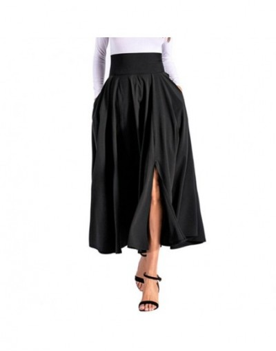 Bow-Knot zipper Splice Skirt Double Pocket Solid Color High Waist Maxi A-Line Skirts - Black - 4C3074265724-2