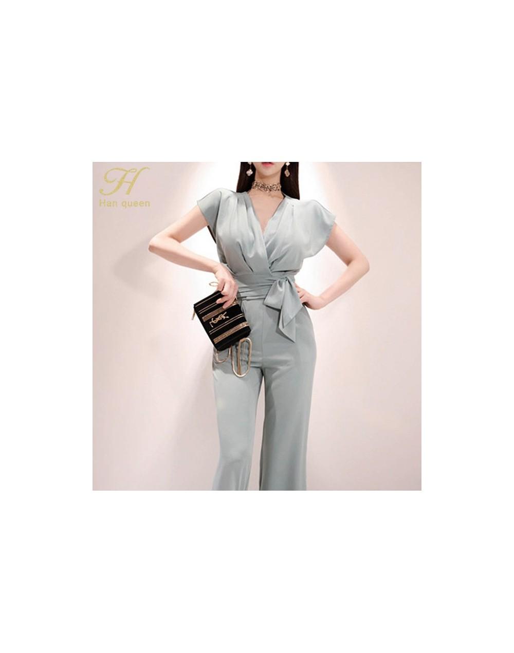 New 2-piece Suits Women 2019 Summer Elegant V-neck Lace Up Crop Top & High Waist Solid Color Long Pants OL Work Set - Photo ...