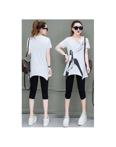 M-5XL Women Sports Suits Summer New Casual Large size Women's Tops + Cropped Pants Suit Loose Fashion Two-piece Sets Female ...