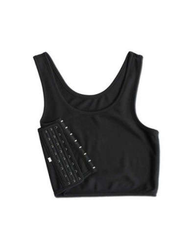 2019 New Fashion Vest Women Lesbian Tomboy Slim Fit Short Vest Chest Binder Tops - black L - 5J111215407056-2
